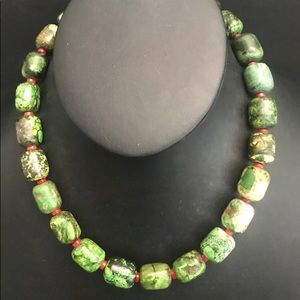 Sterling Silver Green Turquoise Coral Necklace